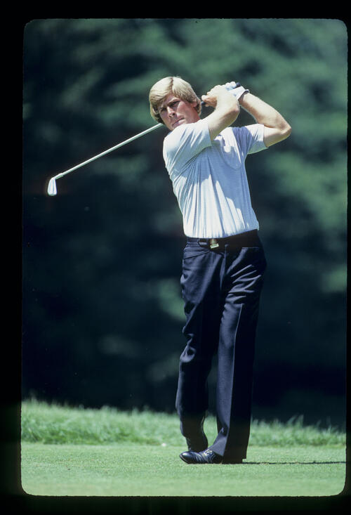 Hal Sutton holding his form on the tee during the 1981 US Open