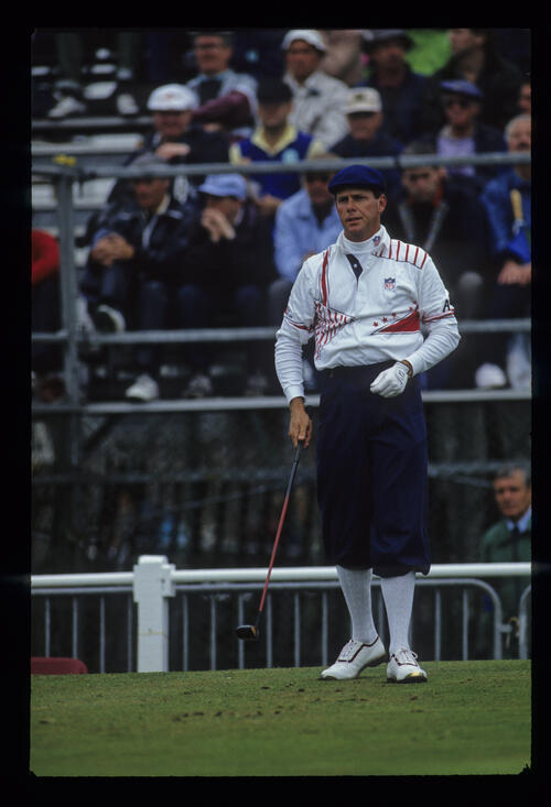 Payne Stewart preparing to drive during the 1993 Open Championship.