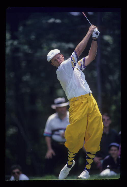 Payne Stewart following through on the tee during the 1993 US Open