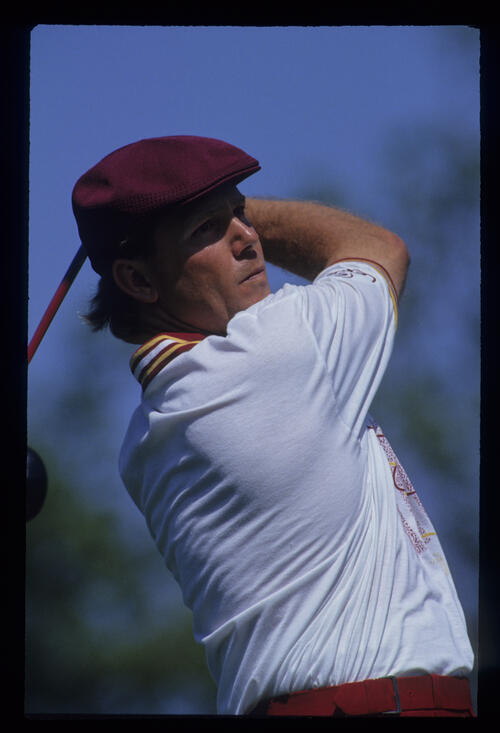 Payne Stewart with a full follow through during the 1993 TPC