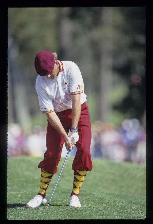 Payne Stewart opening the blade while pitching from the mounding during the 1993 TPC