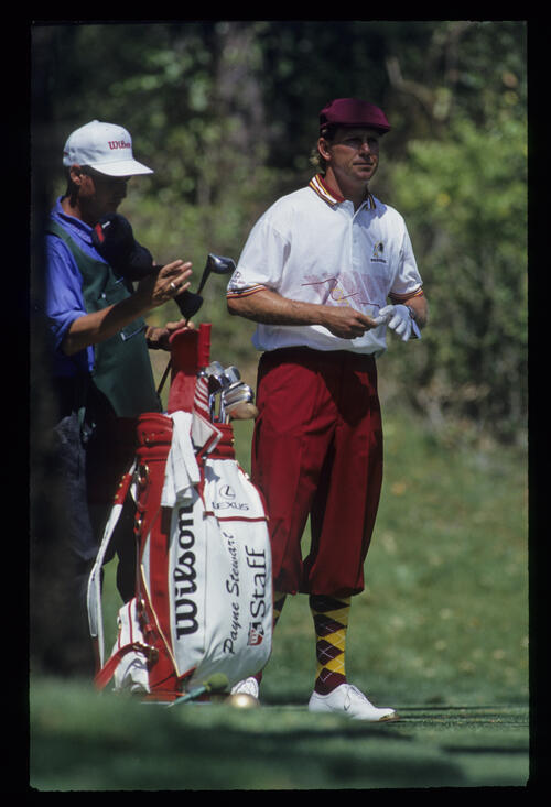Payne Stewart and his caddie on the tee during the 1993 TPC
