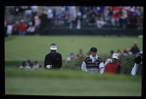 Payne Stewart and Tom Kite walking up the fairway on day three of the 1992 US Open
