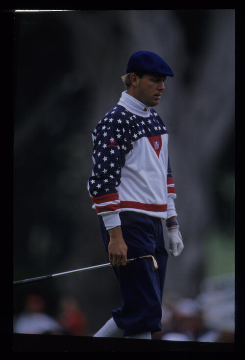Payne Stewart with wedge in hand during the 1992 US Open