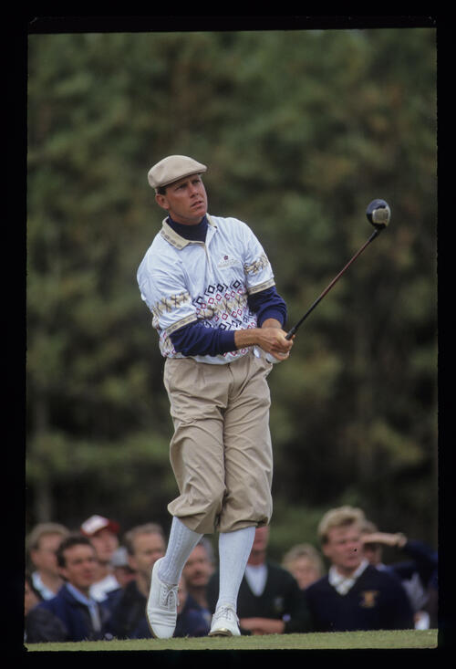 Payne Stewart hitting driver from the tee during the 1991 Open Championship