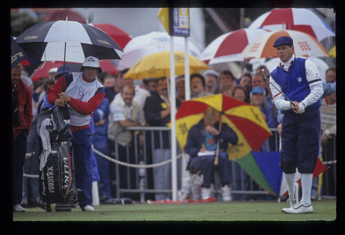 Payne Stewart hitting iron from the tee during the 1991 Open Championship
