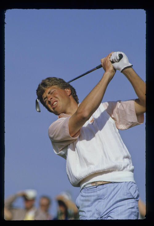 Bob Tway closing his eyes as he follows through during the 1987 Phoenix Open