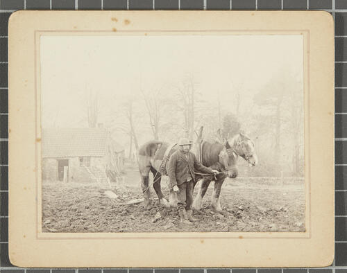 [Men ploughing the soil with a horse drawn plougher]