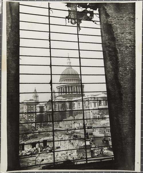 [Bombed buildings close to St Paul Cathedral in London]
