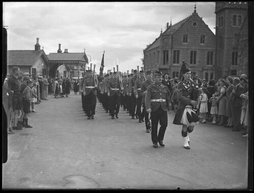 Troops marching in Ballater.