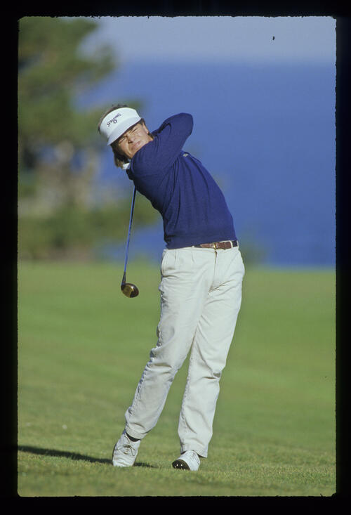 Johnny Miller Jr hitting three wood during the 1988 AT&T