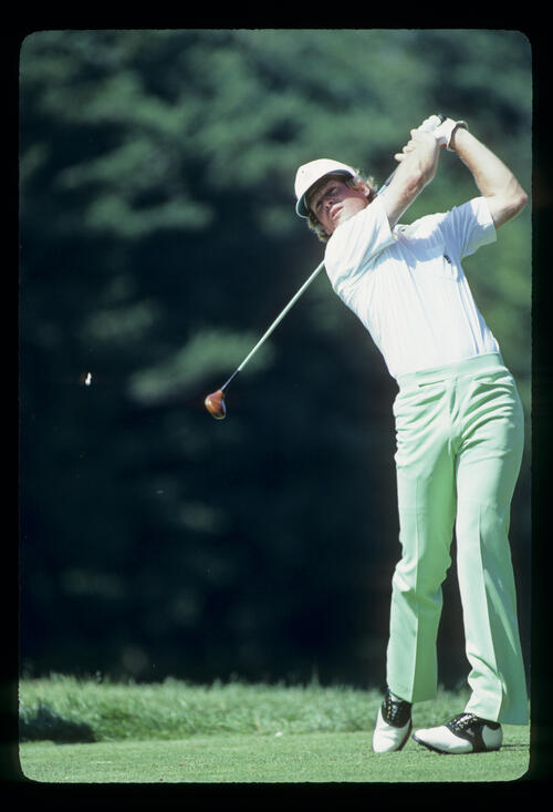 Johnny Miller following through after driving during the 1981 US Open