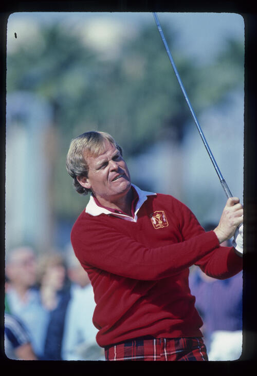 Johnny Miller watching his drive closely during the 1982 Phoenix Open