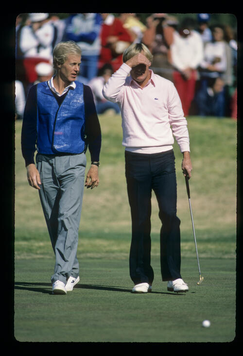 Johnny Miller rueing a missed putt during the 1984 Phoenix Open