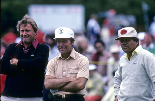Raymond Floyd, Gary Player and Lee Trevino sharing a joke during the 1982 US Open