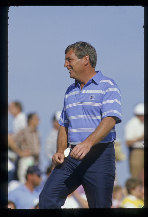 Fuzzy Zoeller smiling in the sun during the 1987 Phoenix Open