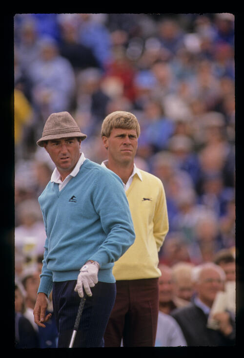 Gordon J Brand and Hal Sutton on the tee during the 1989 Open Championship