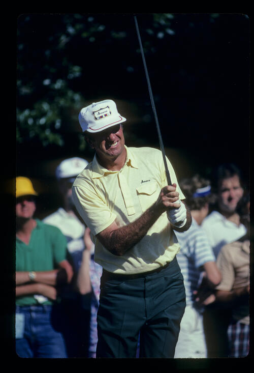 George Archer watching his drive closely during the 1981 US Open