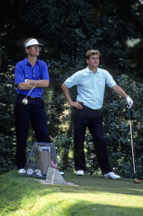 Peter Baker and Tom Kite on the tee together during the 1988 Panasonic European Open