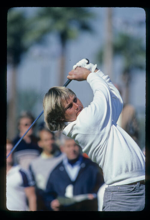 John Cook following through on the tee during the 1982 Phoenix Open