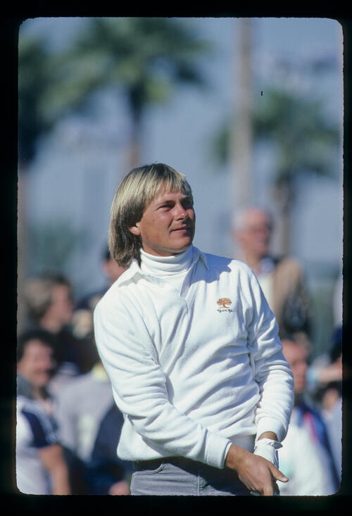 John Cook watching closely from the tee during the 1982 Phoenix Open