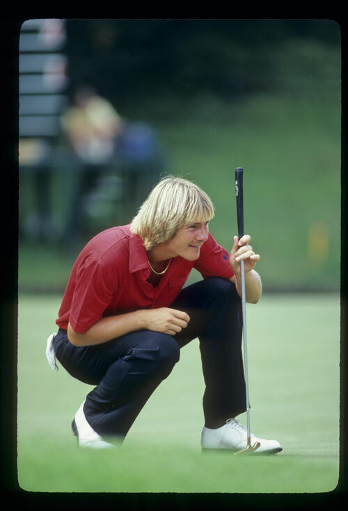 John Cook lining up a putt during the 1981 US Open