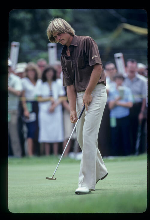 John Cook stepping after a putt during the 1981 US Open