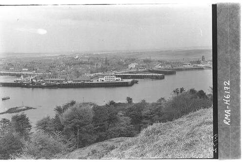 Stornoway town and jetties.