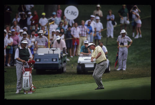 Mike Donald hitting wedge during the 1990 US Open