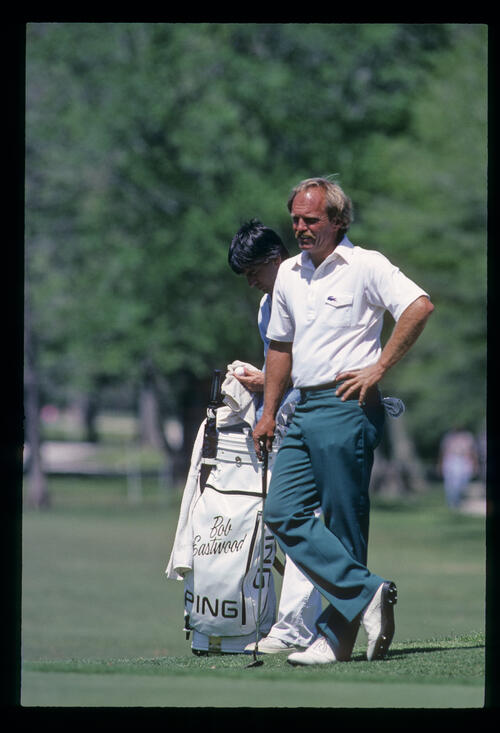 Bob Eastwood waiting his turn to putt on his way to winning the 1984 USF&G Classic