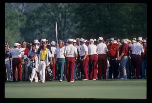Bob Eastwood emerging onto the green on his way to winning the 1984 USF&G Classic