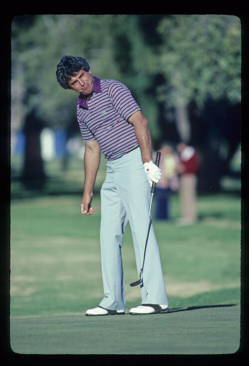 Dave Eichelberger willing a putt to drop during the 1982 Phoenix Open
