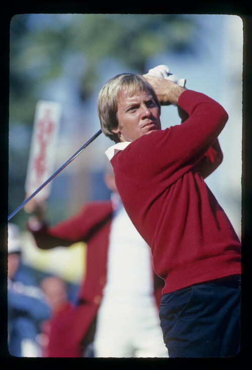 Keith Fergus following through on the tee during the 1982 Phoenix Open