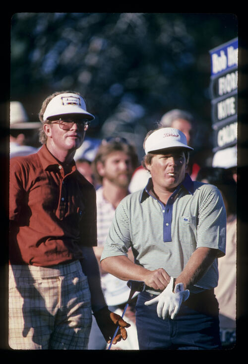 Ed Fiori and Tom Kite preparing to drive during the 1982 Bay Hill Classic