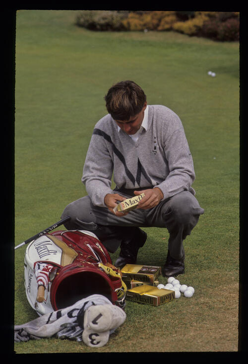 Anders Forsbrand sorting out his golf balls during the 1990 NM English Open