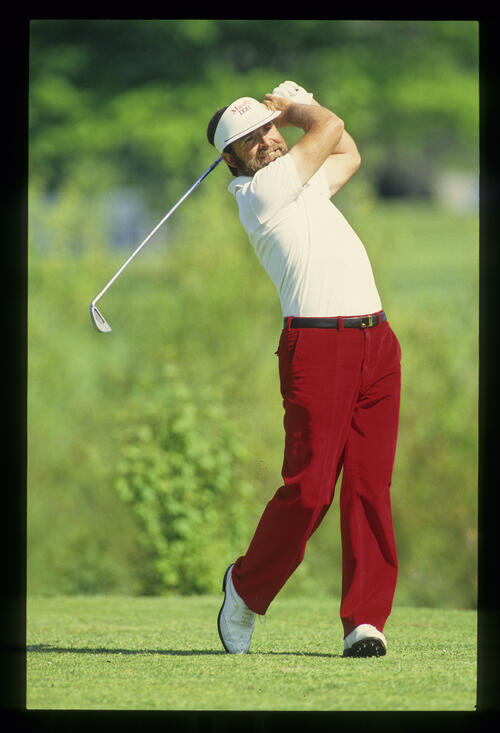 Antonio Garrido following through on the tee during the 1990 NM English Open