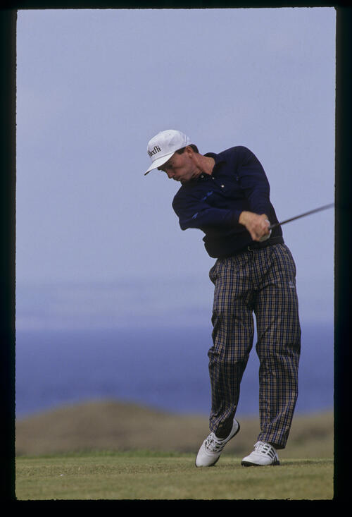 David Gilford staying down through the ball on the tee during the 1992 Open Championship