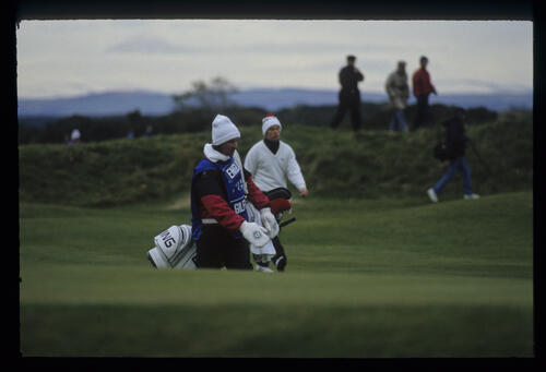 David Gilford wrapped up against the weather during the final of the 1992 Dunhill Cup