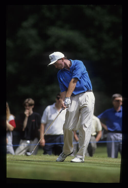 David Gilford at the moment of impact on the tee during the 1992 Volvo PGA
