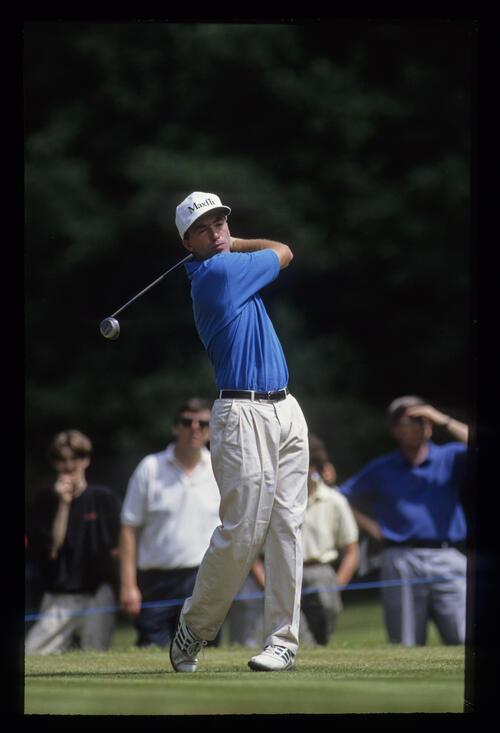 David Gilford following through on the tee during the 1992 Volvo PGA