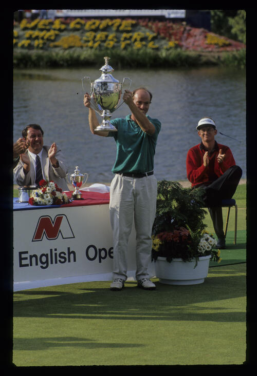 David Gilford holding the trophy after winning the 1991 NM English Open