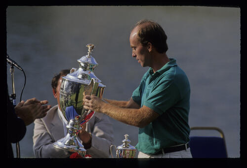 David Gilford with the trophy after winning the 1991 NM English Open