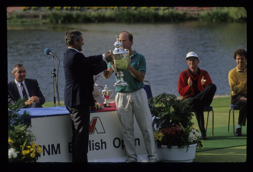 David Gilford receiving the trophy after winning the 1991 NM English Open