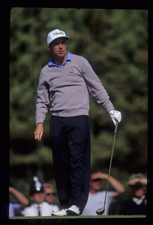 David Gilford watching his drive closely during the 1991 Open Championship