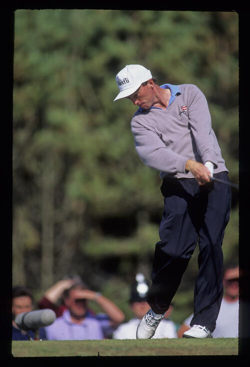David Gilford staying down through the ball on the tee during the 1991 Open Championship