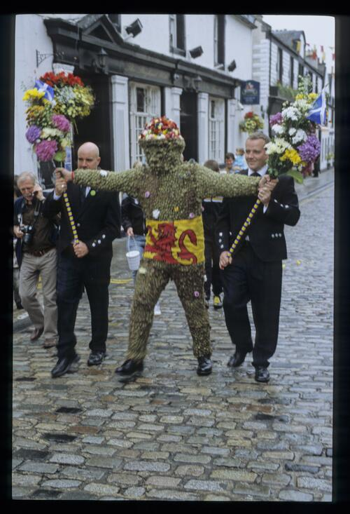 The Burry Man setting out, South Queensferry.