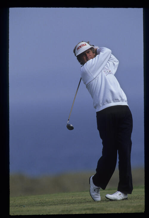 Wayne Grady with a full follow through on the tee during the 1992 Open Championship