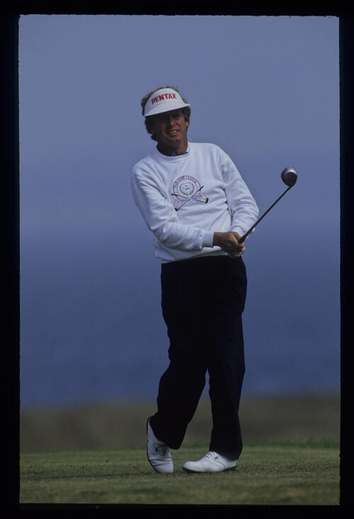 Wayne Grady watching his tee shot closely during the 1992 Open Championship