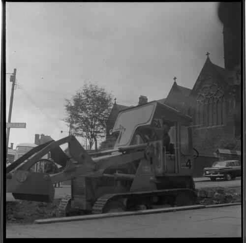 [Construction bulldozer in the street, Rye Hill]
