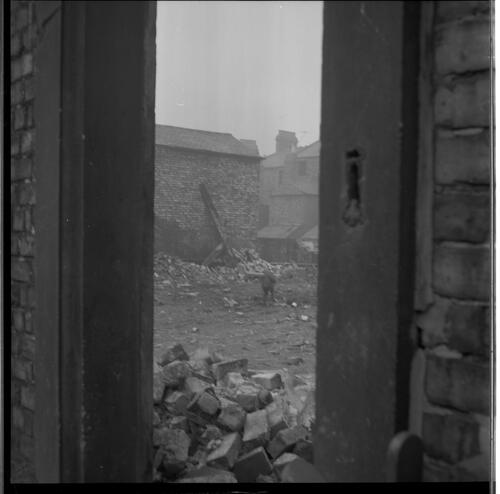 [An unidentified person among building rubble, Rye Hill]